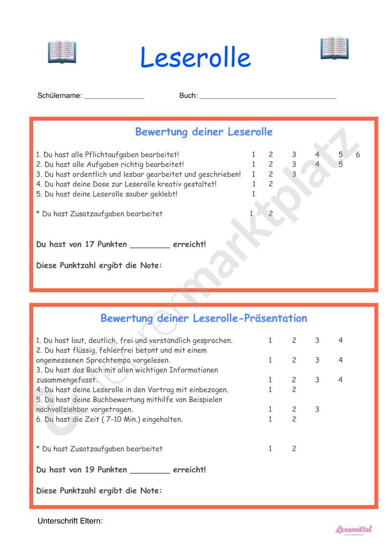 Leserolle Bewertung Seite 1 Lernen Leseforderung Deutsch Lesen