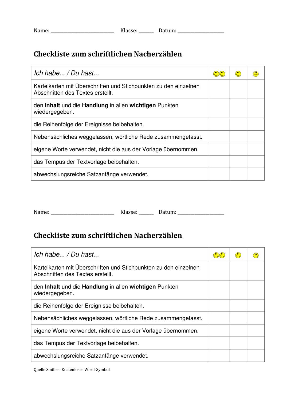 Checkliste Nacherzahlen Unterrichtsmaterial In Den Fachern Deutsch Fachubergreifendes Checkliste Schreibkonferenz Unterrichtsmaterial