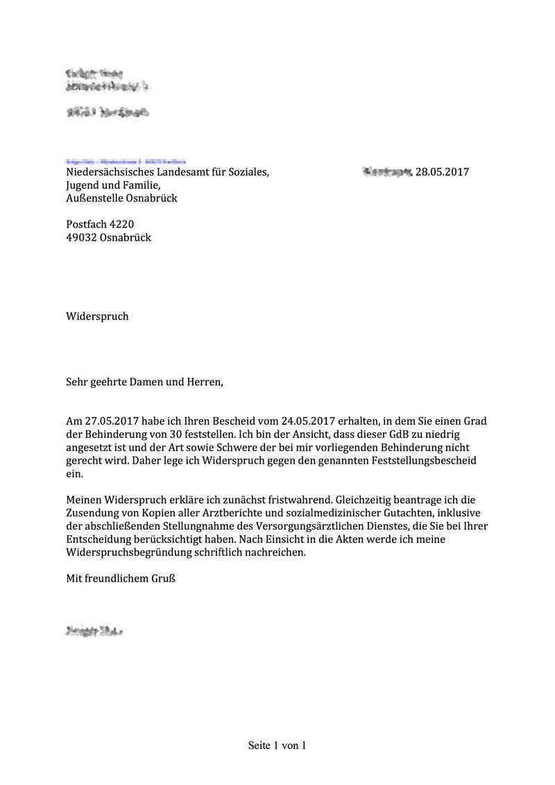 Legt Man Den Widerspruch Gegen Einen Gdb Formlos Ein Erwerbslosenforum Deutschland