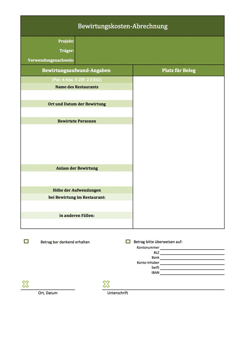 Excel Vorlage Fur Ein Bewirtungskosten Abrechnung