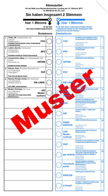 Musterstimmzettel Zur Landtagswahl 2017 In Niedersachsen Wahlumfrage De