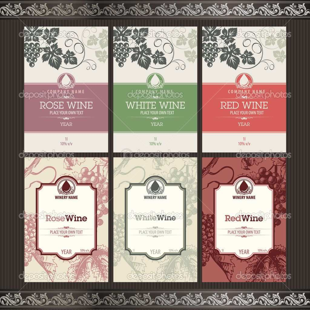 Set Of Wine Labels Wine Label Template Wine Bottle Label Design Free Wine Bottle Label Template