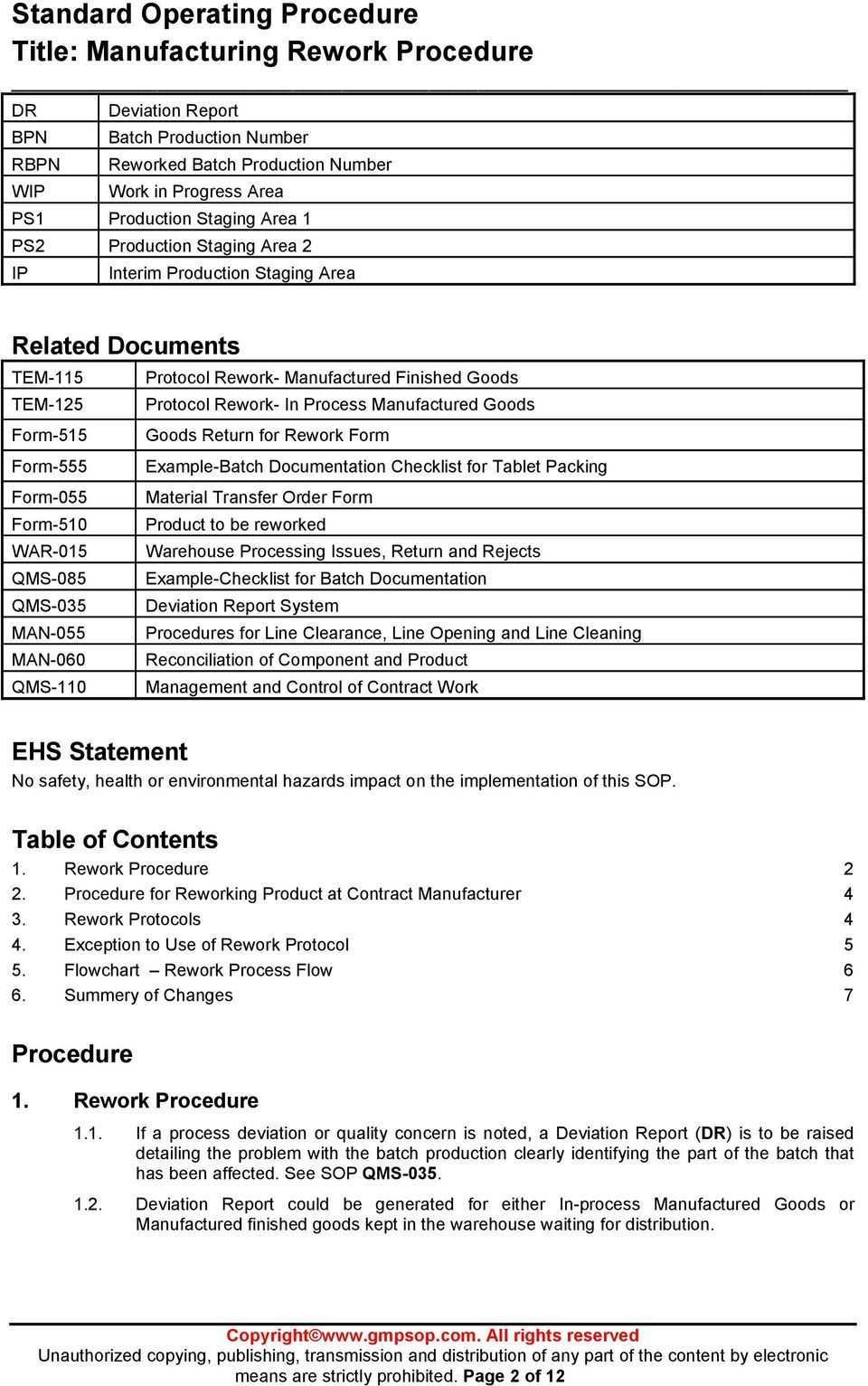 Standard Operating Procedure Title Manufacturing Rework Inside Deviat Standard Operating Procedure Template Standard Operating Procedure Invoice Template Word