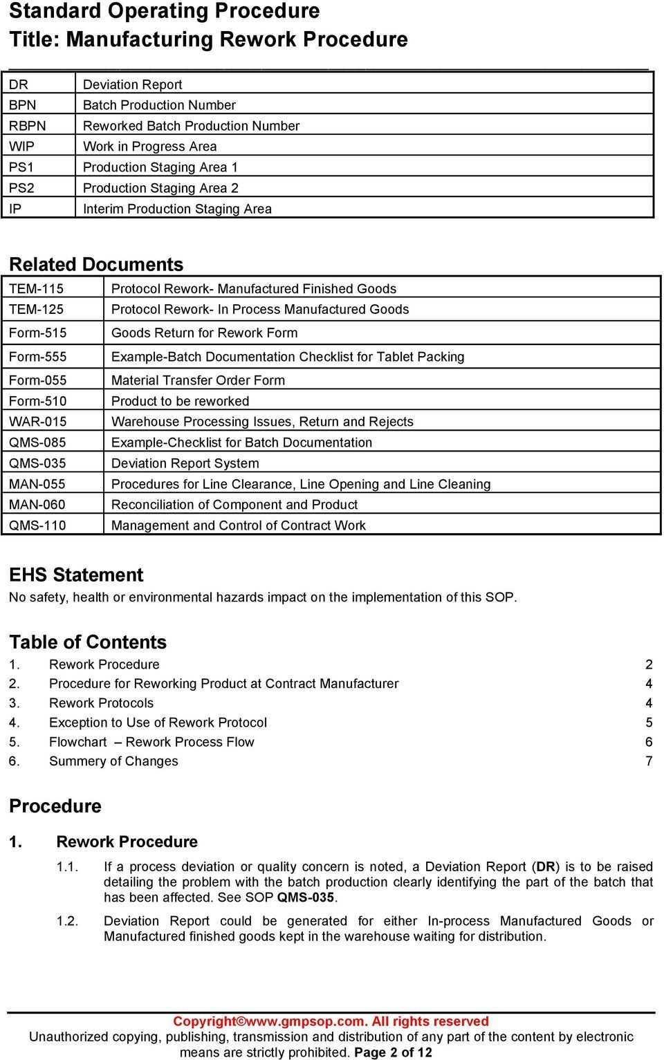 Standard Operating Procedure Title Manufacturing Rework Inside Deviat Standard Operating Procedure Template Standard Operating Procedure Invoice Template Word