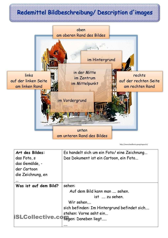 Redemittel Bildbeschreibung Deutsch Lernen Bildbeschreibung Deutsch Unterricht