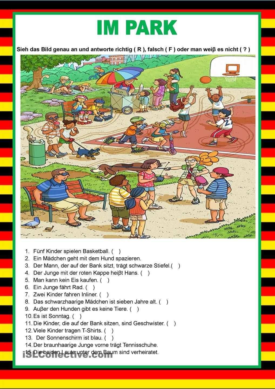 Willkommen Auf Deutsch Im Park Bildbeschreibung Deutsch Lernen Deutsch Lernen Kinder Deutsch Schreiben Lernen