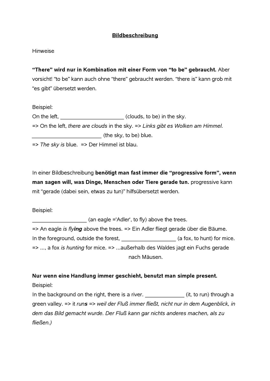 Hinweise Zur Grammatik In Bildbeschreibungen Unterrichtsmaterial Im Fach Englisch Bildbeschreibung Englischunterricht Bilder