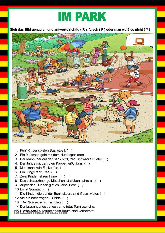 Willkommen Auf Deutsch Im Park Bildbeschreibung Deutsch Lernen Deutsch Lernen Kinder Deutsche Grammatik