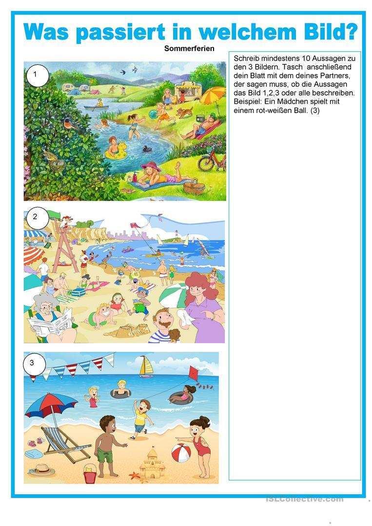Bildbeschreibung Was Passiert In Welchem Bild Sommerferien Deutsch Daf Arbeitsblatter