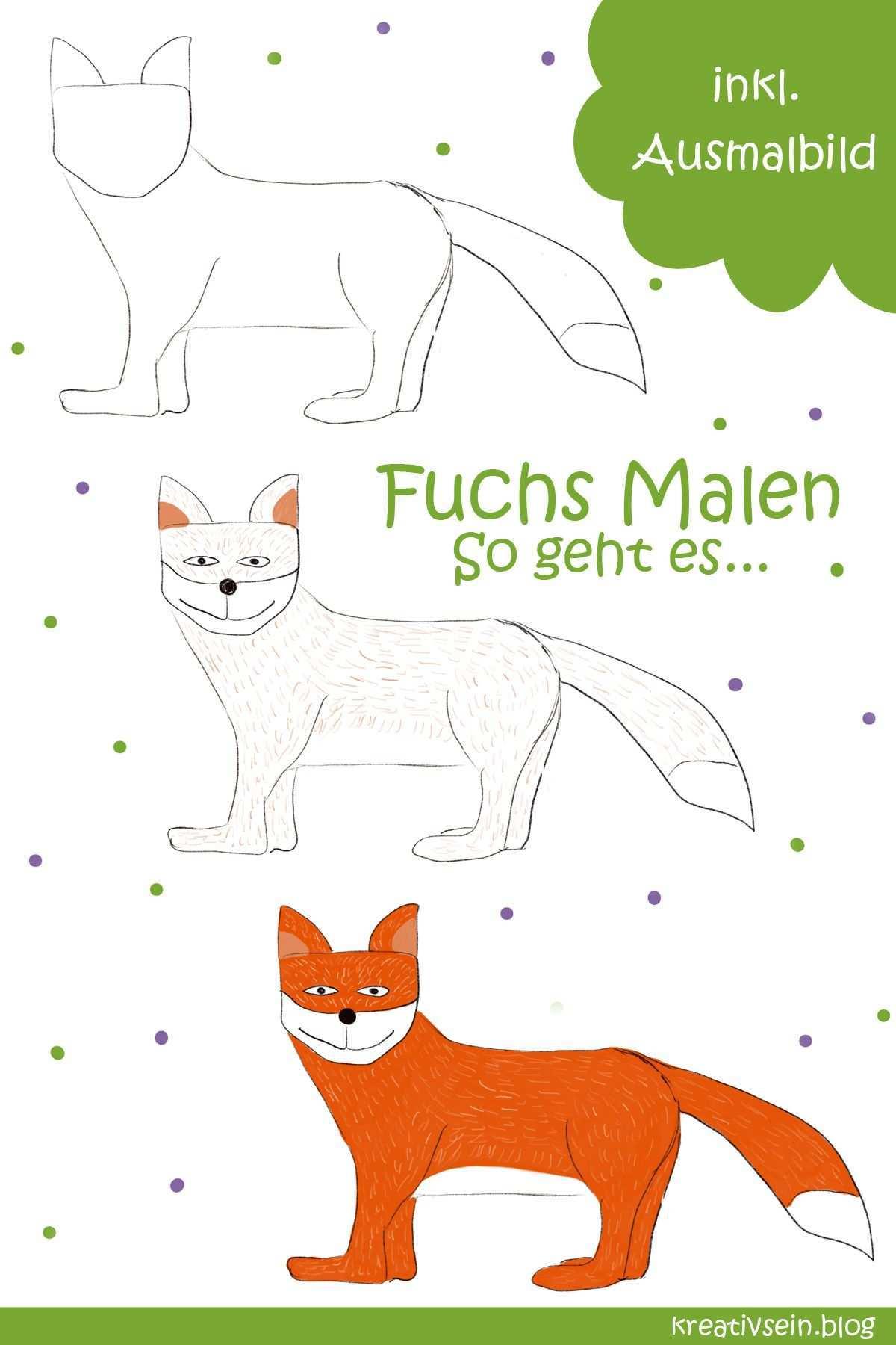 Fuchs Malen Mit Vorlage Geht Es Ganz Einfach Kreativsein Blog Fuchs Zeichnen Malen Ausmalen