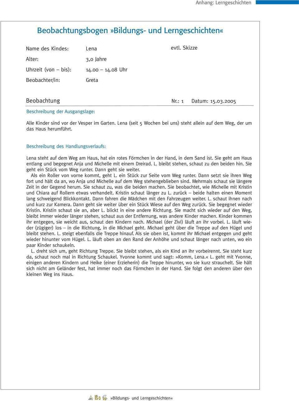 Beobachtungsbogen Bildungs Und Lerngeschichten Pdf Kostenfreier Download