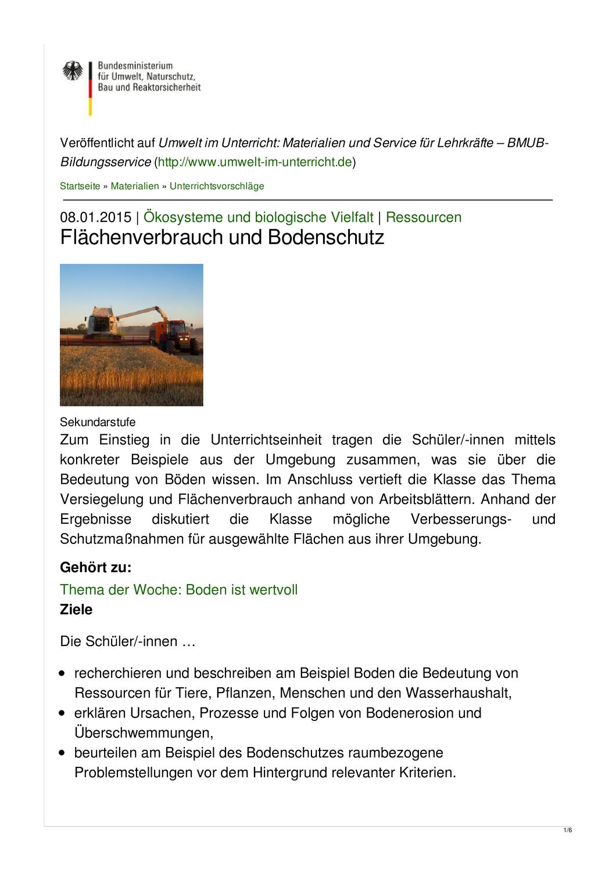 Unterrichtsentwurf Flachenverbrauch Und Bodenschutz Unterrichtsmaterial In Den Fachern Biologie Erdkunde Ethik Politik Sozialkunde Bodenschutz Erdkunde Biologie