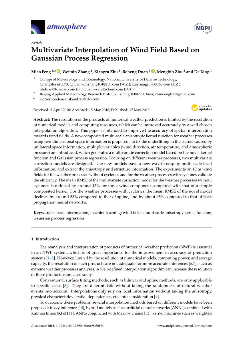 Pdf Multivariate Interpolation Of Wind Field Based On Gaussian Process Regression