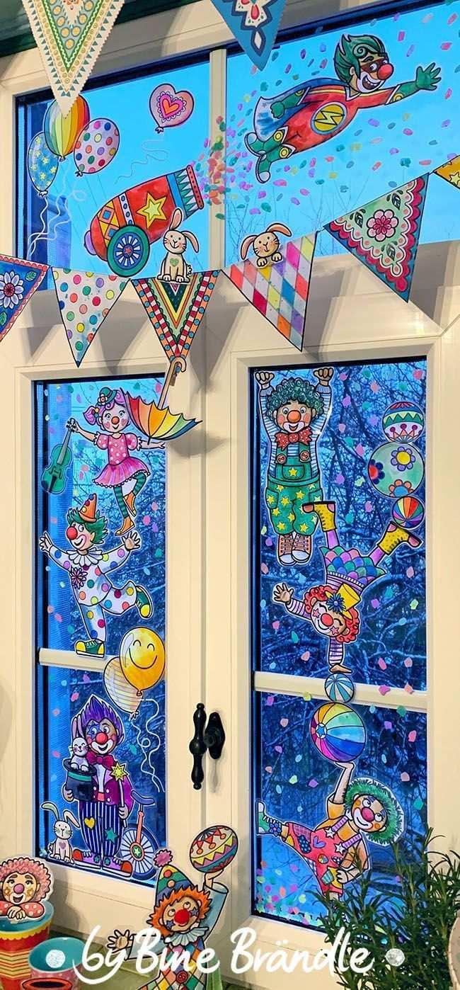 Vorlage Zum Selber Ausmalen Einer Wimpelkette Und Lustigen Clowns Eine Tolle Bastelidee Fur Eine Lustige Party Deko Zum Fasching Karneval Oder Fasnacht Die Vo In 2020 Faschingsmasken Basteln Fasching Basteln Mit Kindern