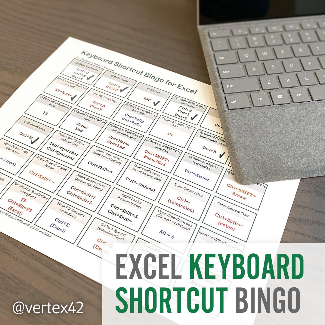 Excel Keyboard Shortcut Bingo Keyboard Shortcuts Keyboard Spreadsheet