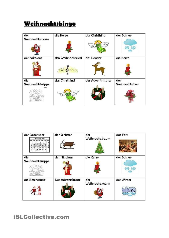 Weihnachtsbingo Weihnachtsbingo Bingo Weihnachten Spiele
