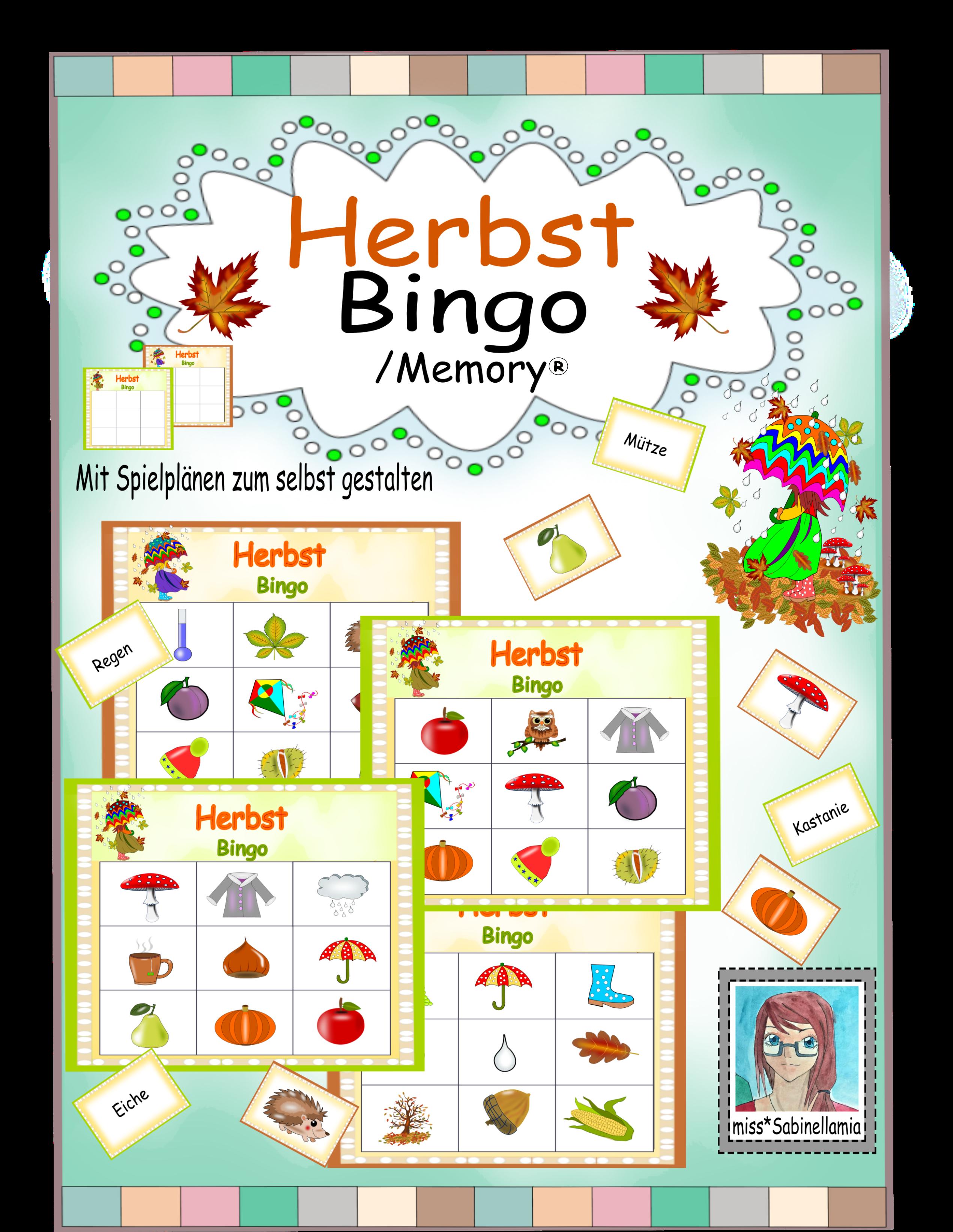 Herbst Bingo Memory Bingo Kostenlose Grafiken Spielkarten