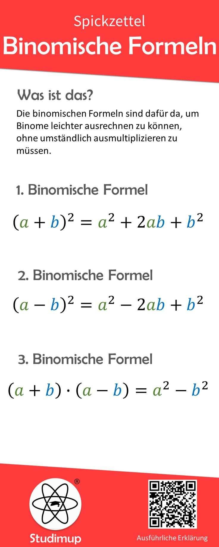 Binomische Formeln Spickzettel Binomische Formeln Spickzettel Nachhilfe Mathe