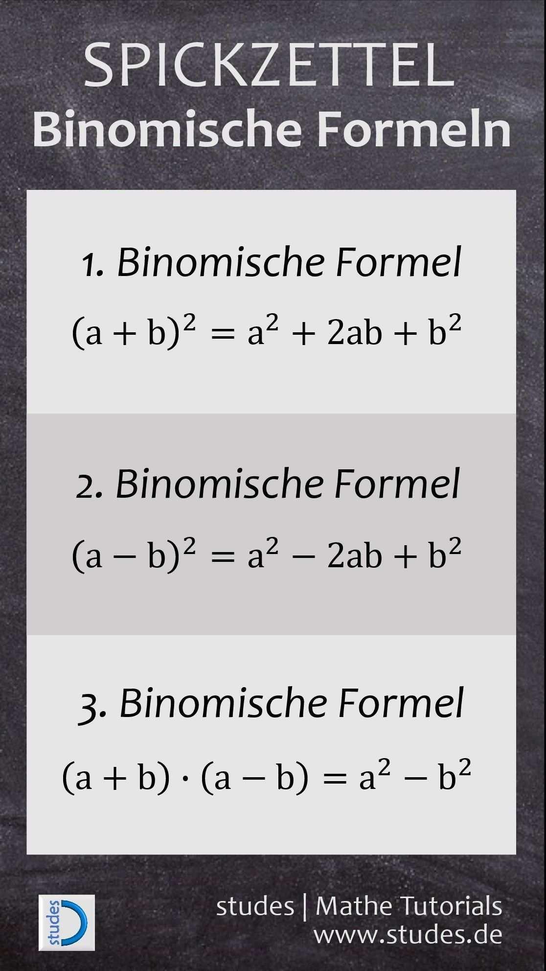 Binomische Formeln Weitere Spickzettel Und Erklarungen Auf Studes De Mathe Mathematik Binomische Fo Nachhilfe Mathe Binomische Formeln Mathematik Lernen