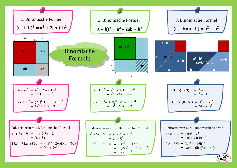 Info Binomische Formeln Unterrichtsmaterial Im Fach Mathematik Binomische Formeln Mathematikunterricht Mathematik