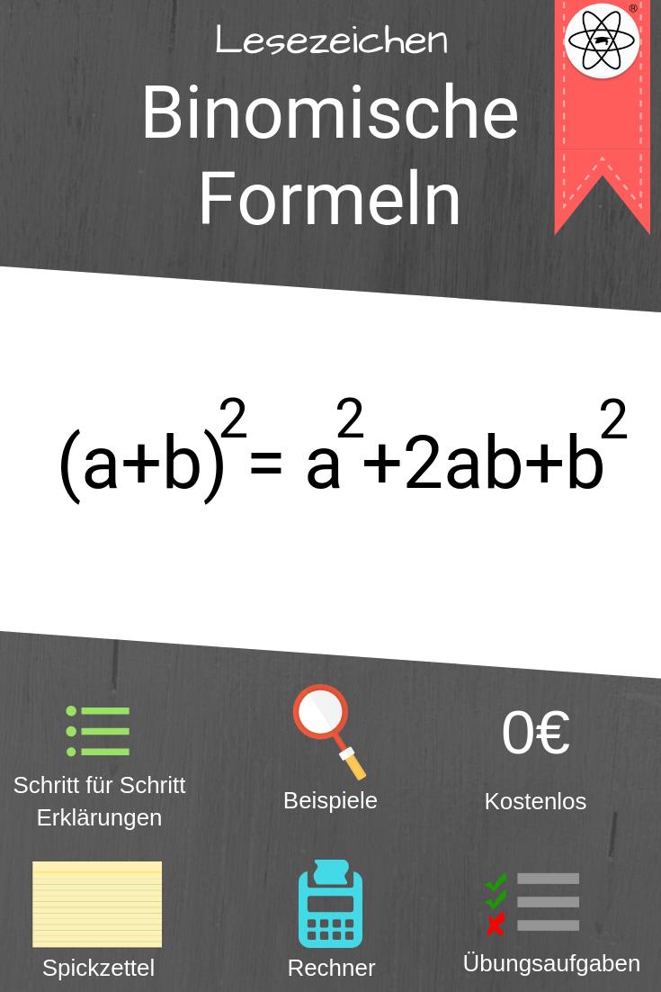 Lesezeichen Zur Erklarung Der Binomischen Formeln Mathe Einfach Lernen Mit Studimup Dort Findet Ihr Auch Viele Beispiele Spickzettel Lernen Mathematik Lernen