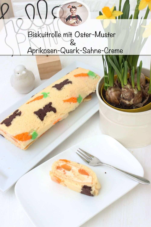 Biskuitrolle Mit Osterhasen Muster Mit Einer Aprikosen Quark Sahne Creme Rezept Ostern Kuchen Osterkuchen Biskuitrolle