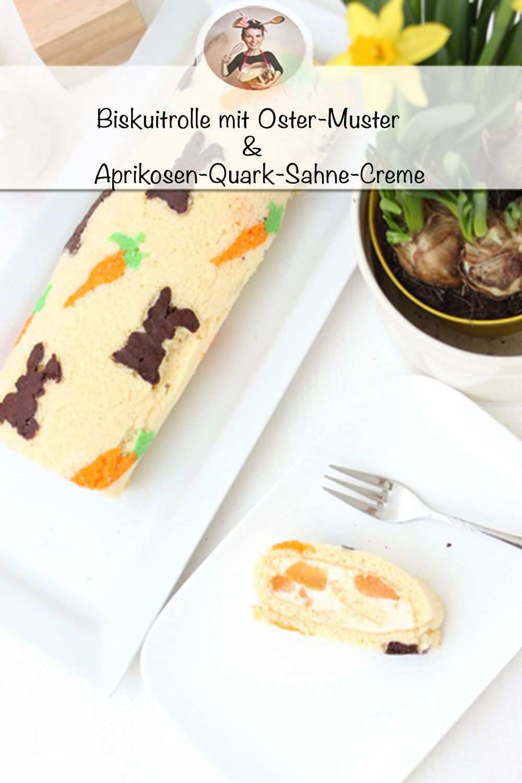 Biskuitrolle Mit Osterhasen Muster Mit Einer Aprikosen Quark Sahne Creme Rezept Lebensmittel Essen Susse Backerei Biskuitrolle