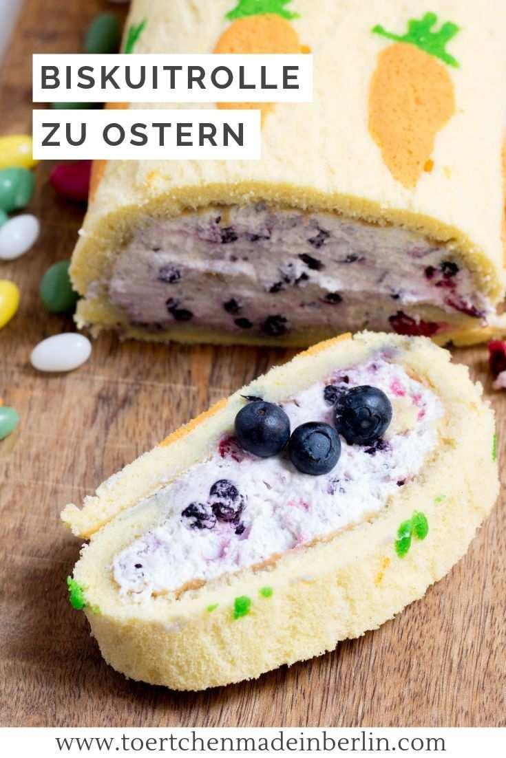 Biskuitrolle Mit Heidelbeeren Zu Ostern Biskuitrolle Lebensmittel Essen Und Biskuit