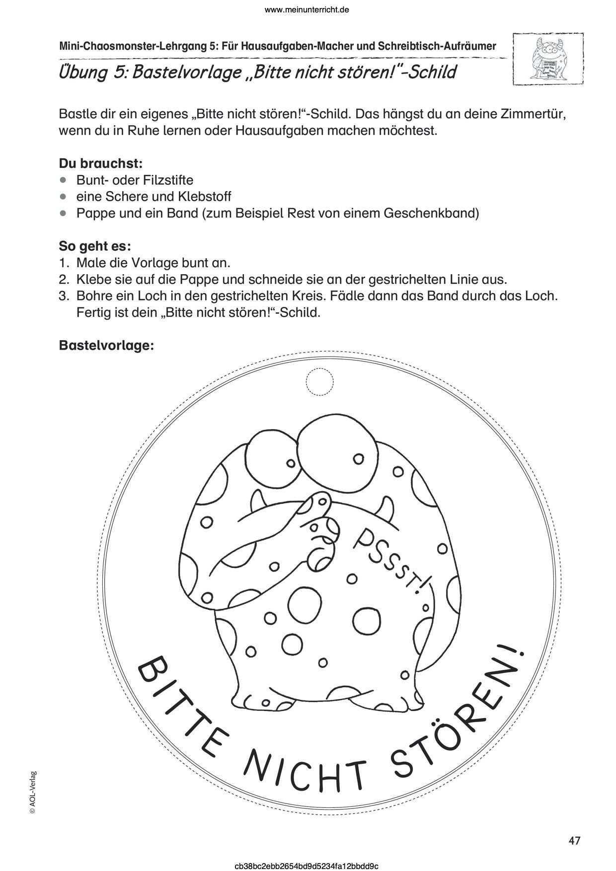 Vorschau Arbeitsblatt Meinunterricht Bastelvorlagen Grundschule Turschild Basteln