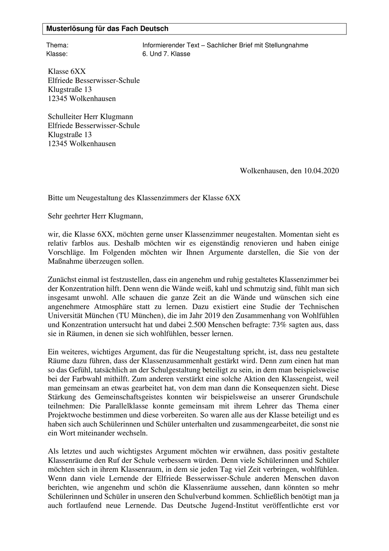 Musterlosung Sachlicher Brief Mit Stellungnahme Brief Schulleitung Deutsch Lernen
