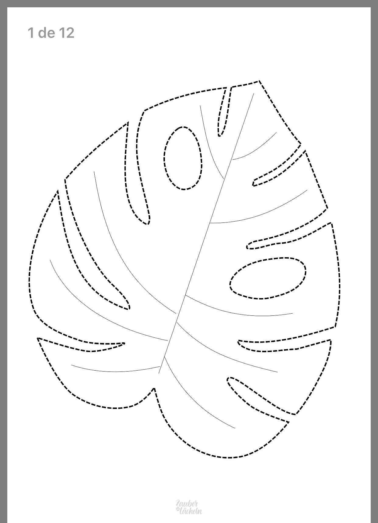 Tropische Blatter Gross Zum Selber Drucken Fur Leinwand 12 Seiten Zauber Ein Lacheln Blattschablone Diy Papierblumen Basteln Mit Papier Origami