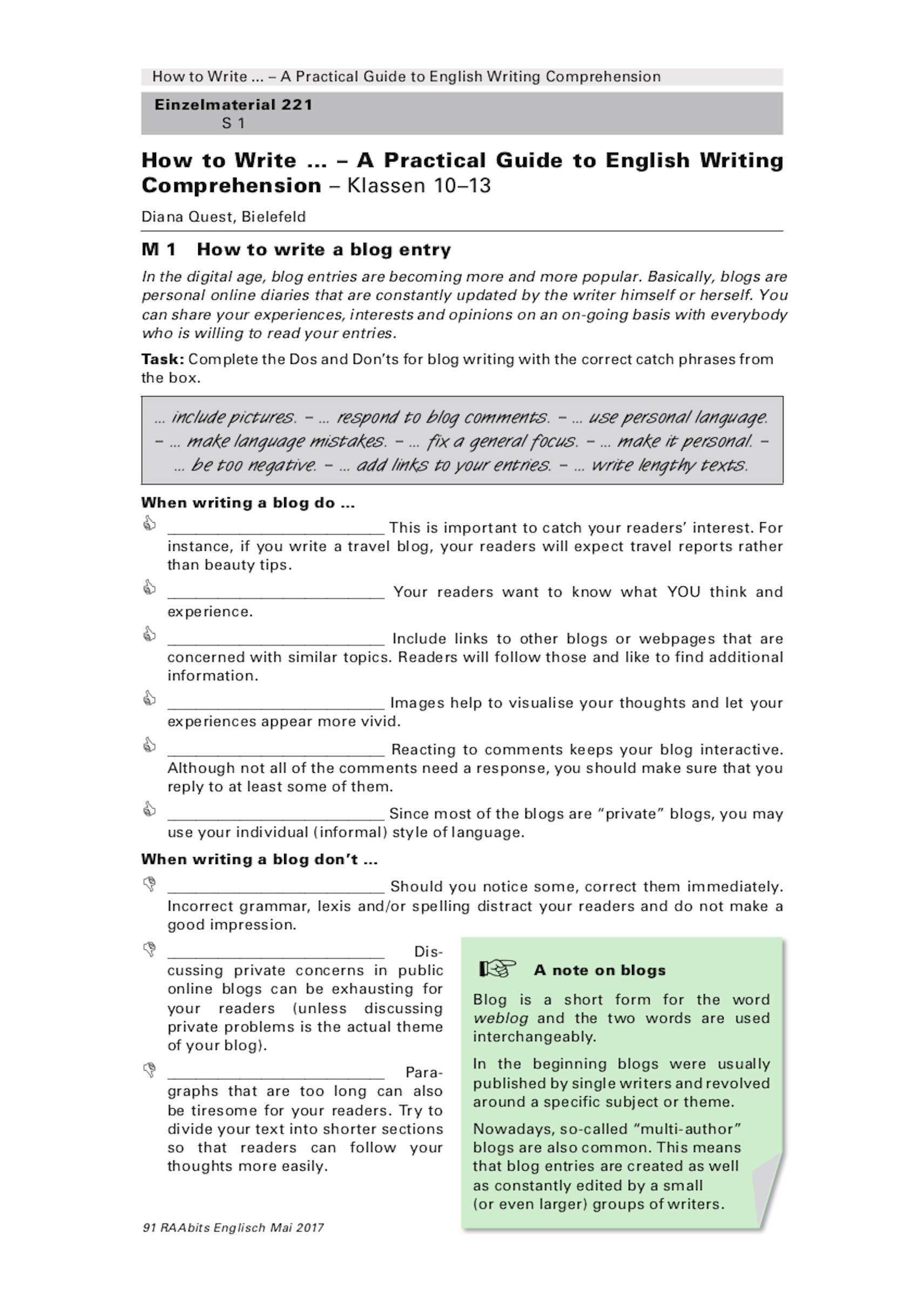 Sekundarstufe Unterrichtsmaterial Englisch Texte Schreiben How To Write Blog Entry
