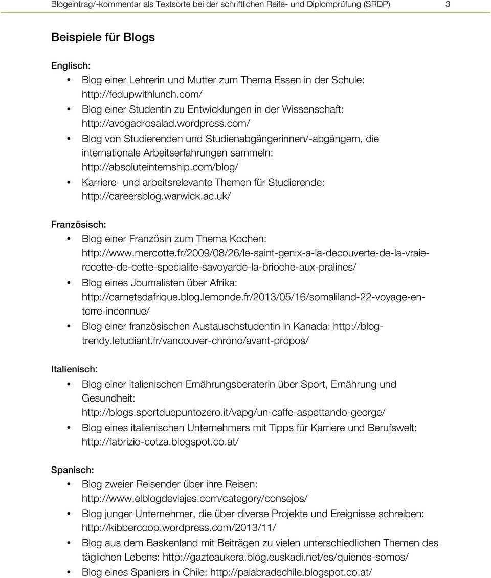 Blogeintrag Kommentar Als Textsorte Bei Der Schriftlichen Reife Und Diplomprufung Srdp In Den Lebenden Fremdsprachen Pdf Kostenfreier Download
