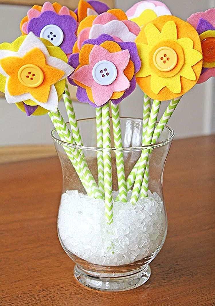 Blumen Strohhalm Vase Blumenstrauss Filz Felt Flower Bouquet Felt Flowers Diy Crafts For Kids
