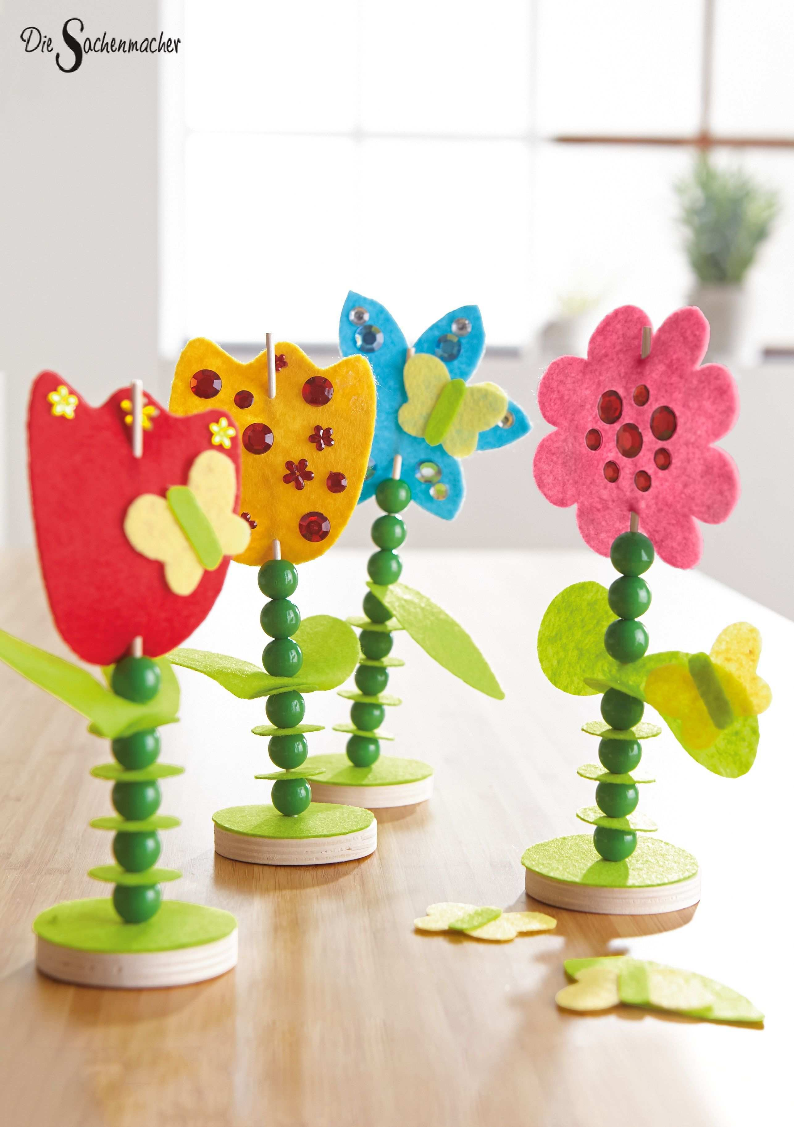Filzstecker Blumen Zum Fadeln Und Verzieren Holz Basteln Bastelnmitkindern Diy Fruhling Somm Blumen Basteln Basteln Fruhling Kinder Basteln Fruhling