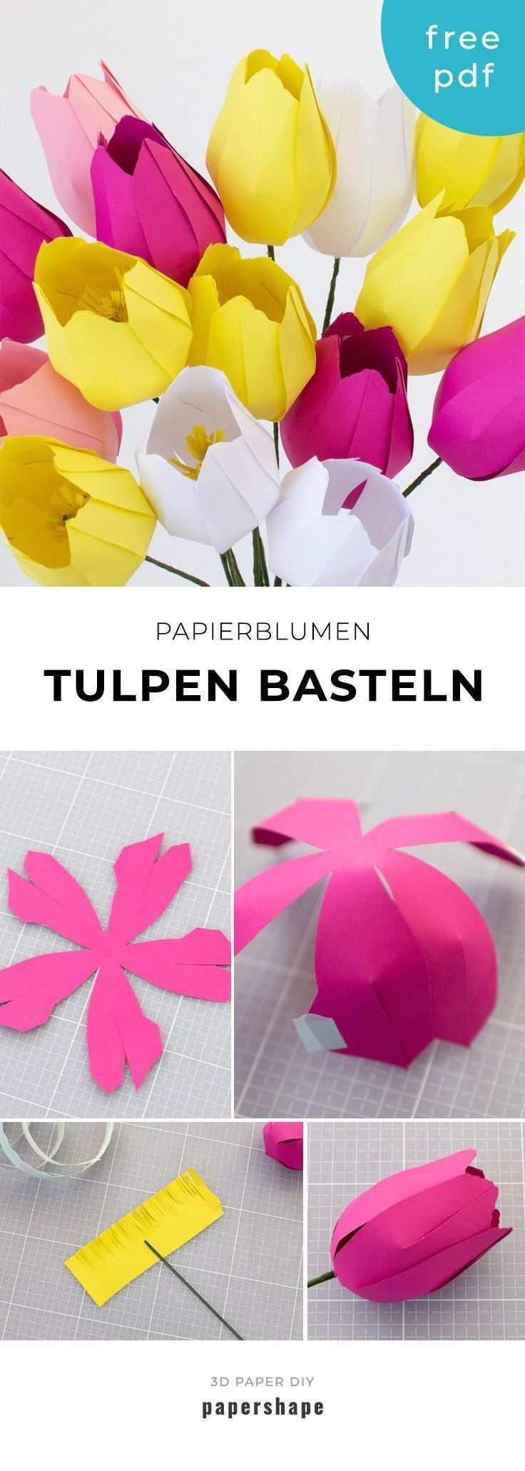 Papier Blumen Basteln Einfache Tulpen Mit Vorlage Blumen Basteln Aus Papier Papierblumen Basteln Blumen Basteln