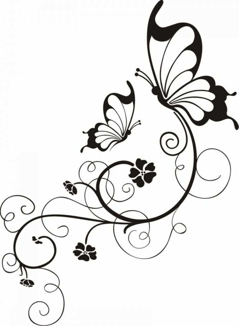 Blumenranken Tattoo 20 Schone Vorlagen Fur Diverse Korperstellen Blumenranken Tattoo Schmetterlingszeichnung Schmetterling Tattoo Vorlage