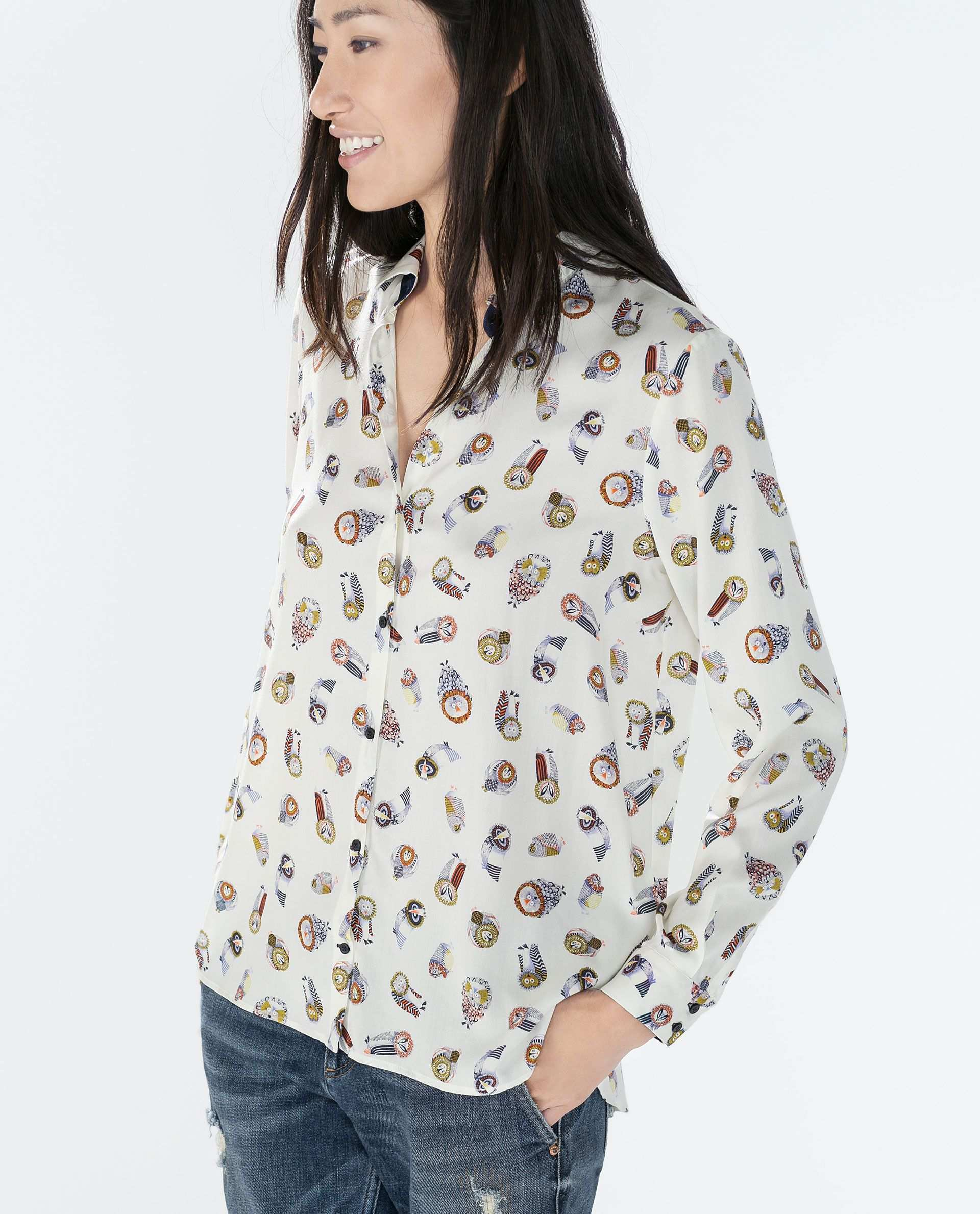 Zara Damen Bluse Mit Eulenmuster Blusen Mit Blumenmuster Frauen Shirt Zara Tops