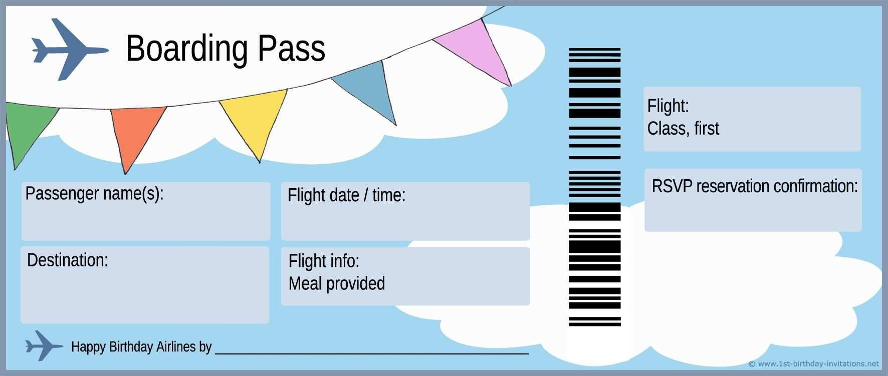 Airline Ticket Template Doliquid Pertaining To Plane With Plane Ticket Templa Boarding Pass Invitation Template Boarding Pass Template Birthday Card Template