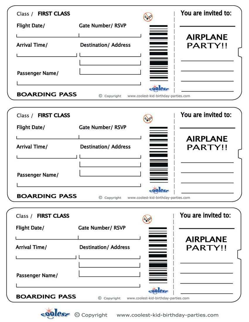 Printable Airplane Boarding Pass Invitations Boarding Pass Invitation Airplane Birthday Airplane Birthday Party