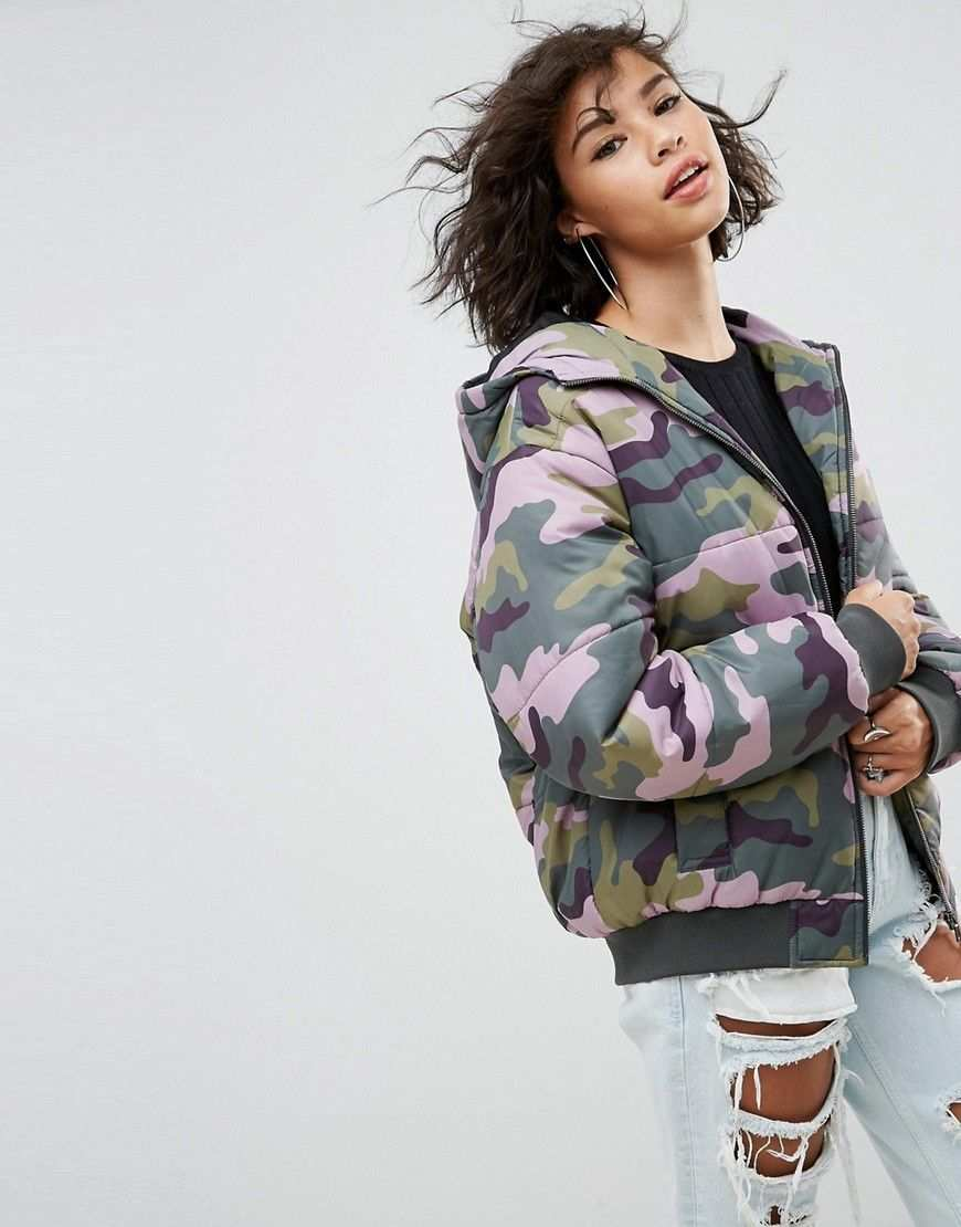 Asos Wattierte Bomberjacke Mit Military Muster Mehrfarbig Jetzt Bestellen Unter Https Mode Camo Jacket Women Padded Bomber Jacket Latest Fashion Clothes