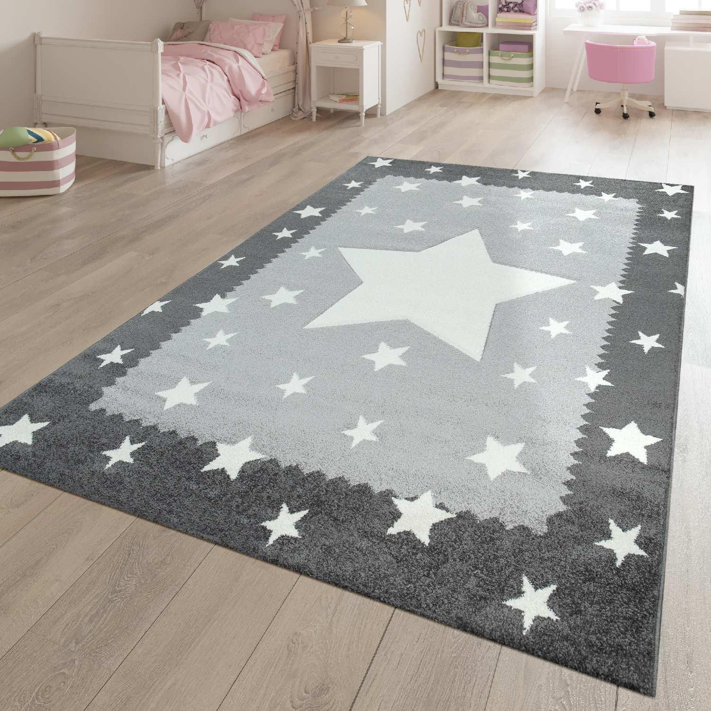 Spielteppich Kinderzimmer Weiss Grau Stern Muster Bordure 3 D Effekt Kurzflor Ebay