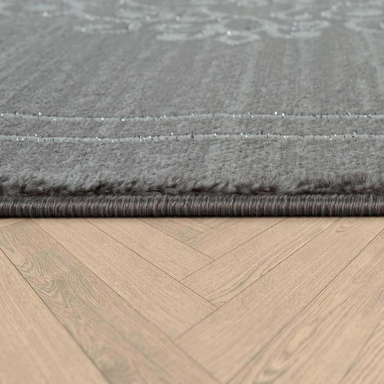Wohnzimmer Teppich Kurzflor Mit Orientalischen Muster Bordure In Grau Weiss Ebay