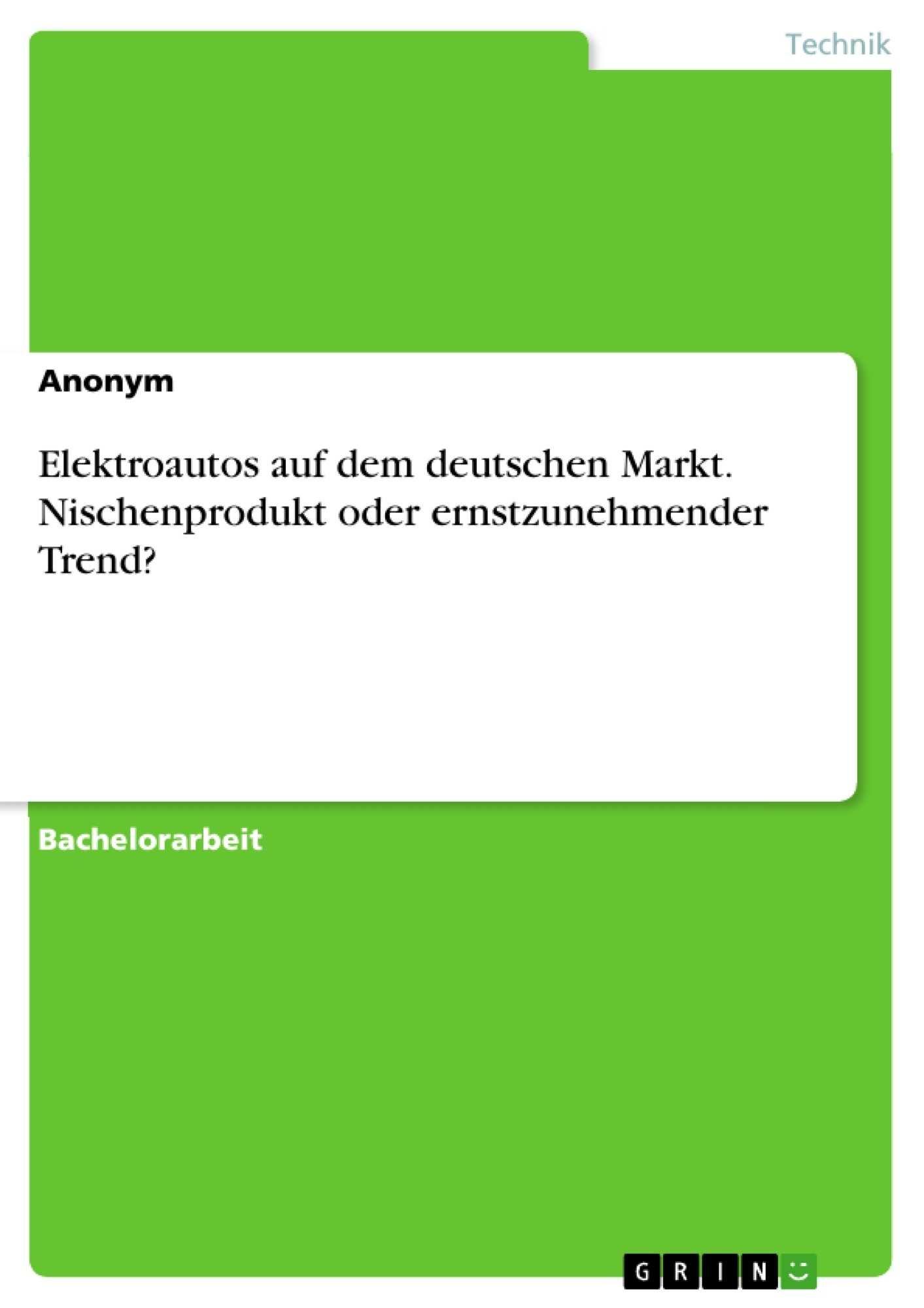 Elektroautos Auf Dem Deutschen Markt Diplomarbeiten24 De Diplomarbeiten24 De