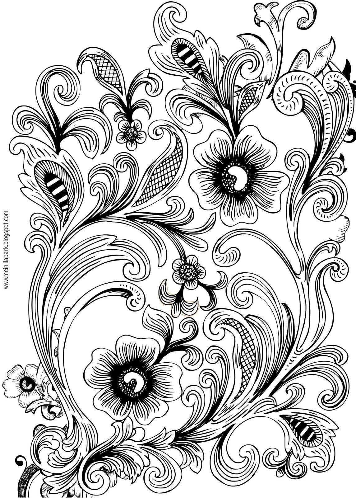 Free Printable Floral Coloring Page Ausmalbild Freebie Brandmalerei Muster Holz Gravieren Vorlagen Pyrographie Ideen