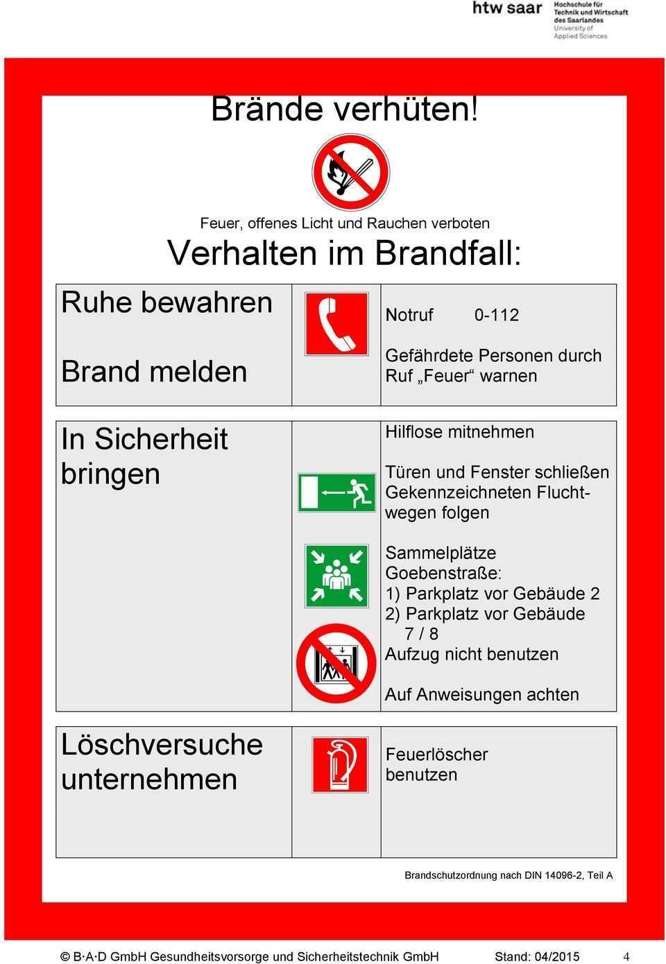 Brandschutzordnung Nach Din Teil 1 3 Fur Den Campus Alt Saarbrucken Pdf Free Download