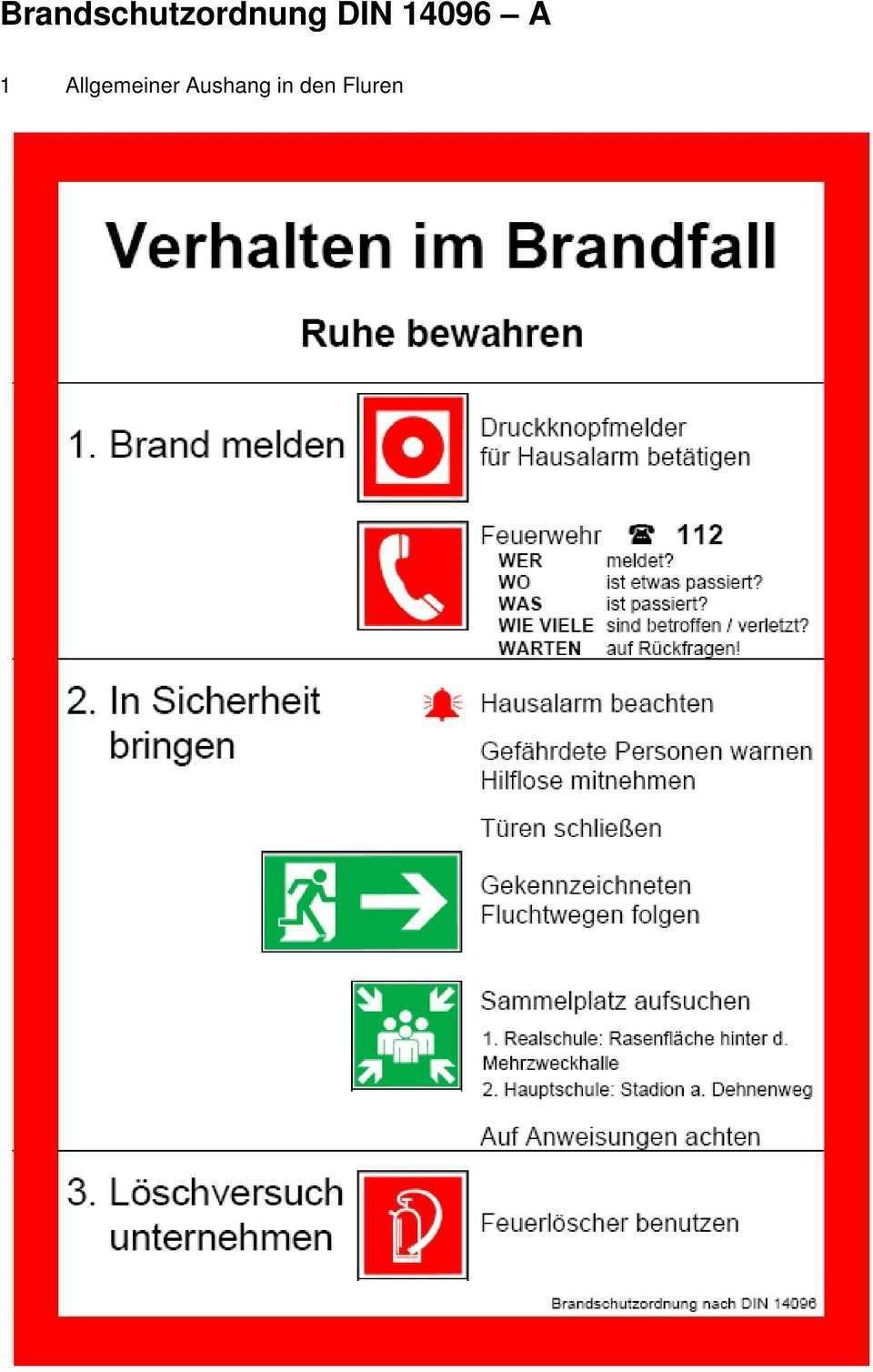 Brandschutzordnung Nach Din14 096 Der Realschule Hohenhameln Pdf Kostenfreier Download