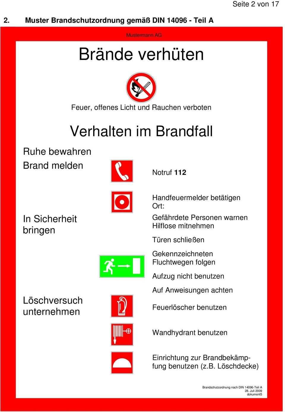 In Der Din Brandschutzordnung Wird Eine Aufteilung In 3 Teile Vorgenommen Teil A Teil B Und Teil C Pdf Kostenfreier Download