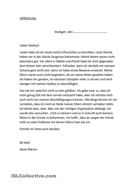 Brief Zeugnis Brief Deutsch Deutsch Schreiben Briefe Lesen