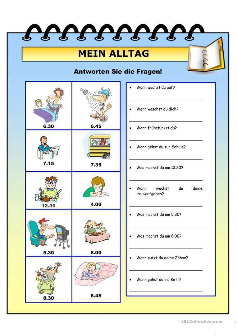 Mein Alltag Deutsch Lernen Uhrzeit Lernen Deutsch Als Fremdsprache